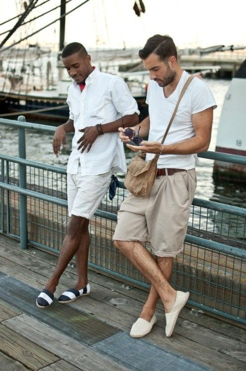 Chino style shorts with white V-tee (very much my style)