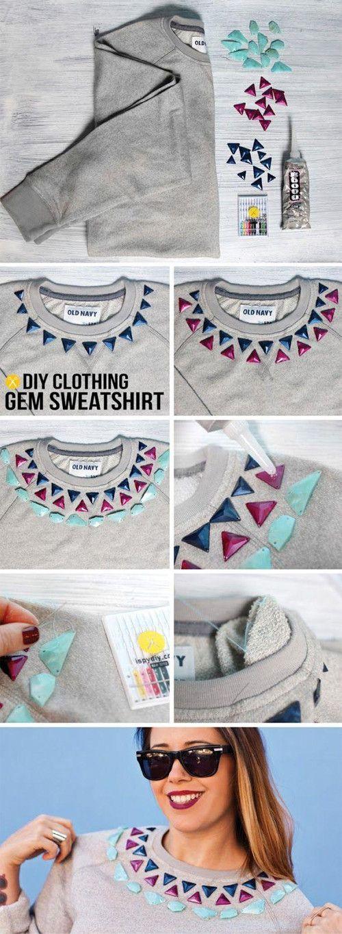 DIY Clothing Gem Sweatshirt