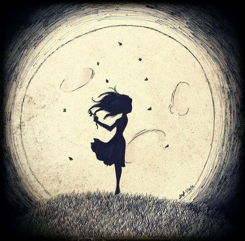 Lots of black, a silhouette and the moon! Simple. Dark. Beautiful. www.cagedcanary.com