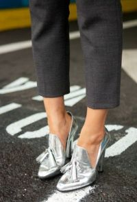 metallic heeled loafers