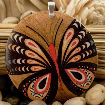 butterfly painted on maple wood naturalatheart - stylehive