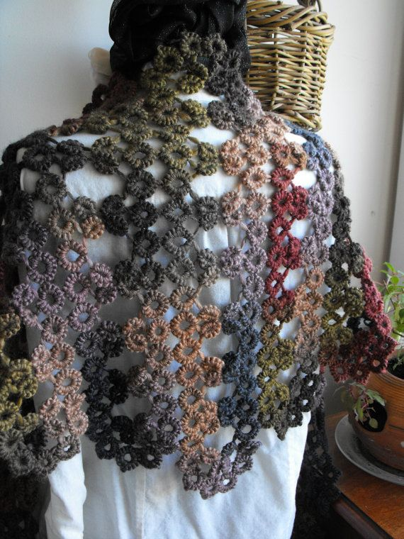 Forest Floor Needle Tatted Lace Soy Wool Shawl by tattingforspirit, $140.00
