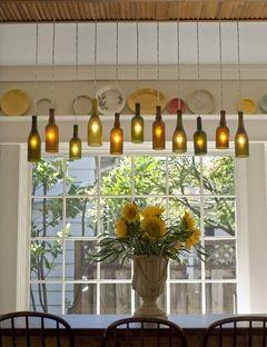 wine-bottle chandelier
