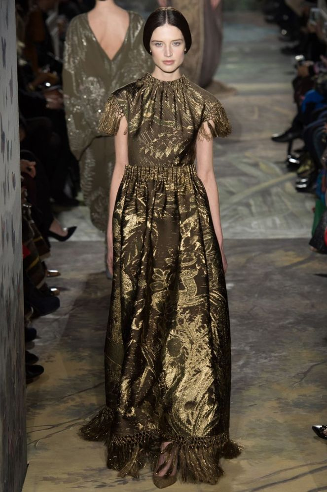 Valentino haute couture 2014, fringe dress, baroque print dress, gold dress