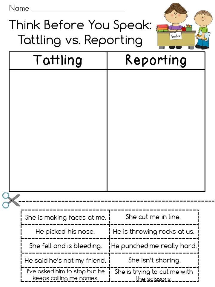 Tattling Vs Reporting Cut And Paste With Bonus