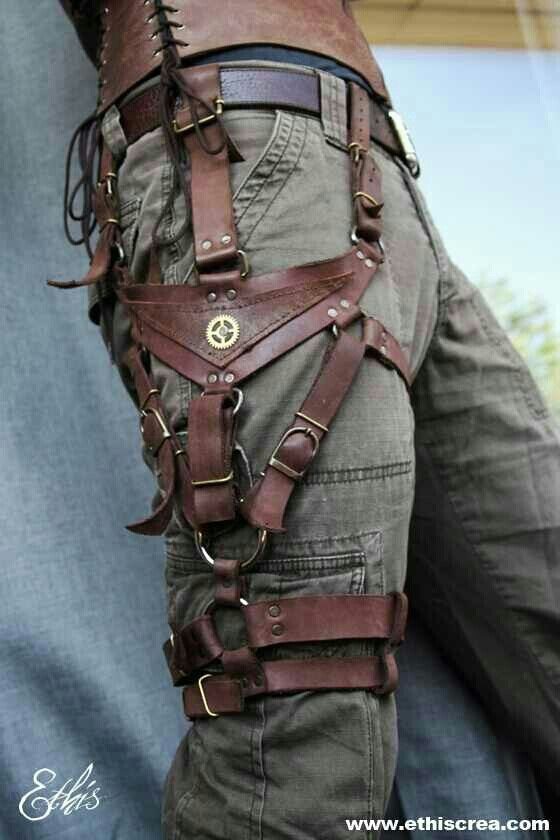 Leather holster, handy - Probably not that hard to imitate with pleather and brads!