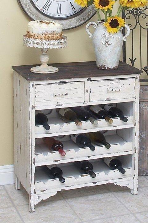 Dresser re-purposed as a wine bin-