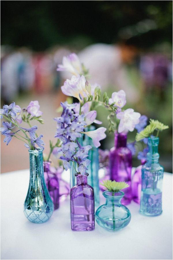 Purple and blue vases