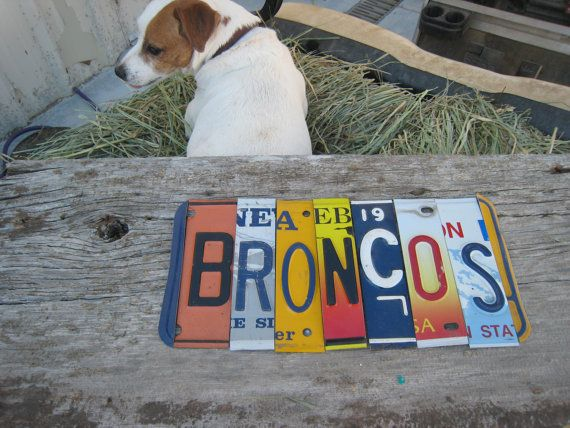 OOaK Denver BRONCOS NFL football sports upcycled license plate art sign navy blue orange tomboyART tomboy Made in America
