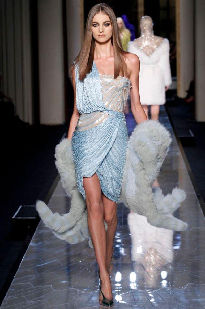 Versace Spring 2014 Haute Couture, light blue dress, fur scarf