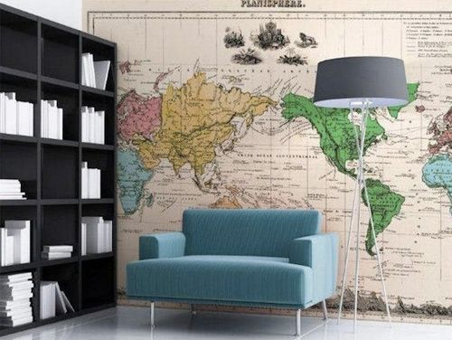 I would completely put a map in the library...if I can part with the space for bookcases... Creative Ways to Cover Your Walls | Home + Garden | PureWow National