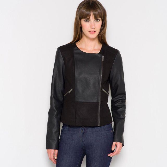 Veste blouson mi long zippé bi matière Modetrend 2014: Blouson Jacken (Inspirationen)