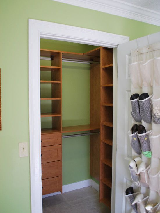 I would have never thought to do this with a small closet!  It provides so much more storage space in that tiny amount of room!! BRILLIANT!