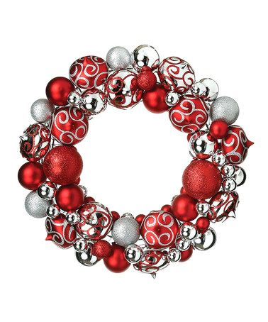 Take a look at this Red & Silver Ornament Wreath by Regency International on #zulily today!