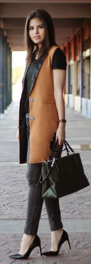 Sheinside Camel long Vest by Fake Leather