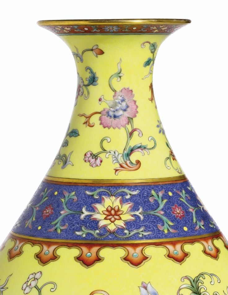 A MAGNIFICENT, FINE AND EXTREMELY RARE YELLOW-GROUND 'YANGCAI' VASE<br>SEAL MARK AND PERIOD OF QIANLONG | Lot | Sotheby's