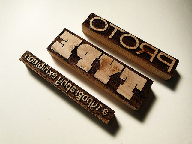 Laser-cut wood blocks for letterpress printing – Experiment No. 2 by typoretum, via Flickr