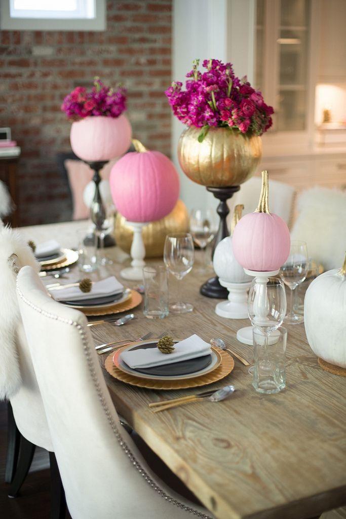 Fall Decorating Ideas : pink, white and gold pumpkins on candlesticks, with pumpkin vases {credit: Alicia Fashionista}