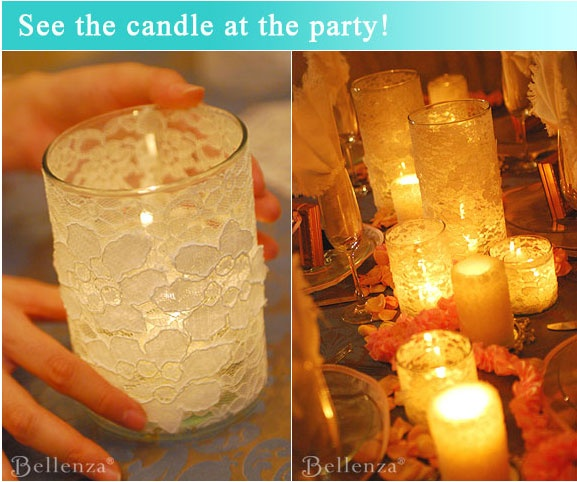 Make your own lace-wrapped candle holders. you could do groupings of lace, twine, burlap. etc. Some tables with candles, some with flowers