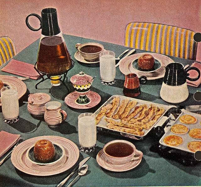 Pancakes, bacon, and baked apples for breakfast...now that sounds awesome! #food #bacon #breakfast #1950s