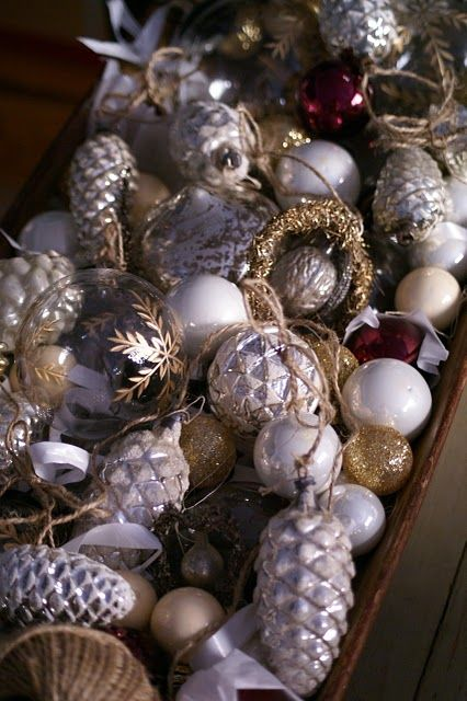 I'm dreaming of a white Christmas, just like the ones I used to know.... I remember the pinecone ornaments on my childhood tree - my mom's ornaments.