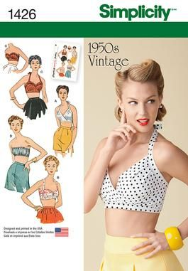 Simplicity Creative Group - Misses' Vintage 1950's Bra Tops