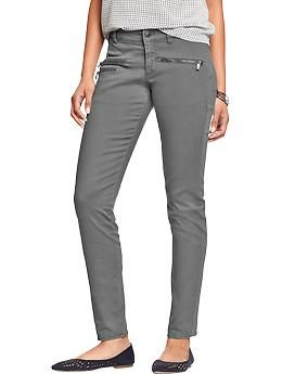 Women's Zip-Pocket Stretch Khakis | Old Navy