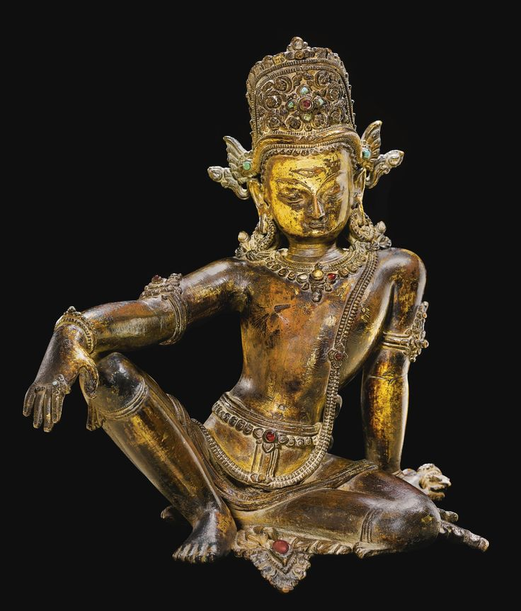A gilt-copper figure of Indra, Nepal, 15th century