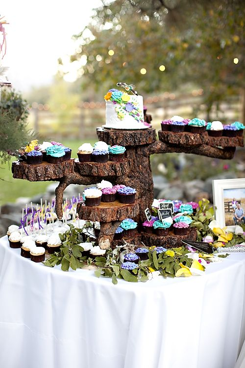 Cute cupcake display ... LOGS!