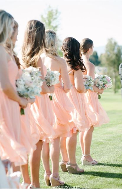 Donna Morgan bridesmaids in peach / A San Luis Obispo Wedding Photographed by Jaime and Chase Photography / via StyleUnveiled.com