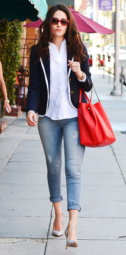 We love how Emmy Rossum elevated her high-rise Express jeans: with a crisp button-down, a white-trimmed navy blazer, red frames, a red carryall and gray pumps.