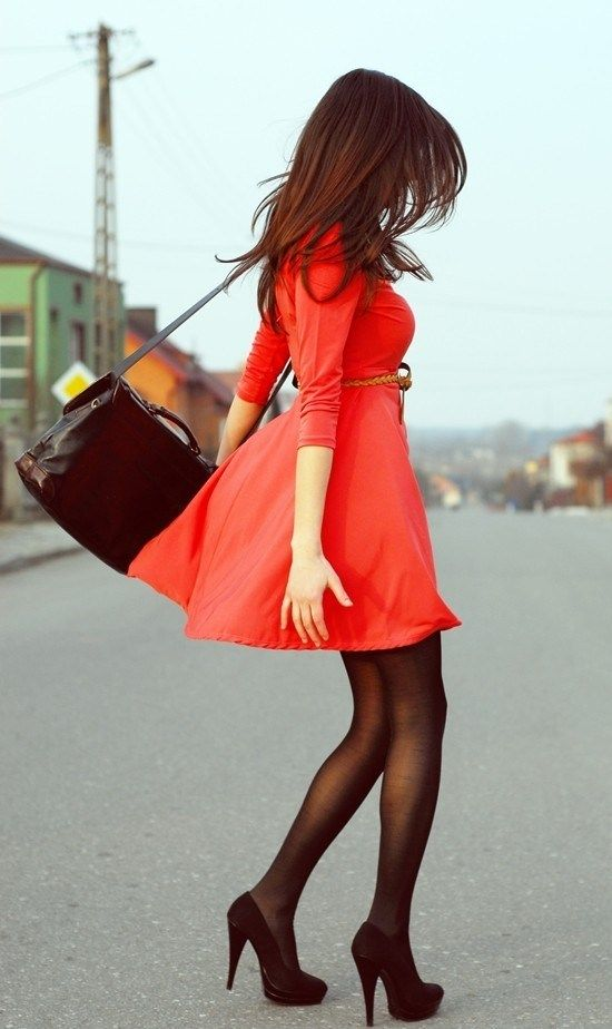 Red dress with black tights