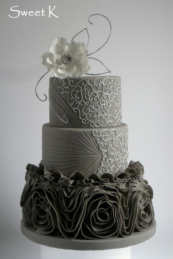 Beautiful Cake Pictures: Silver & Charcoal Scroll Patterned Wedding Cake: Elegant Cakes, Wedding Cakes