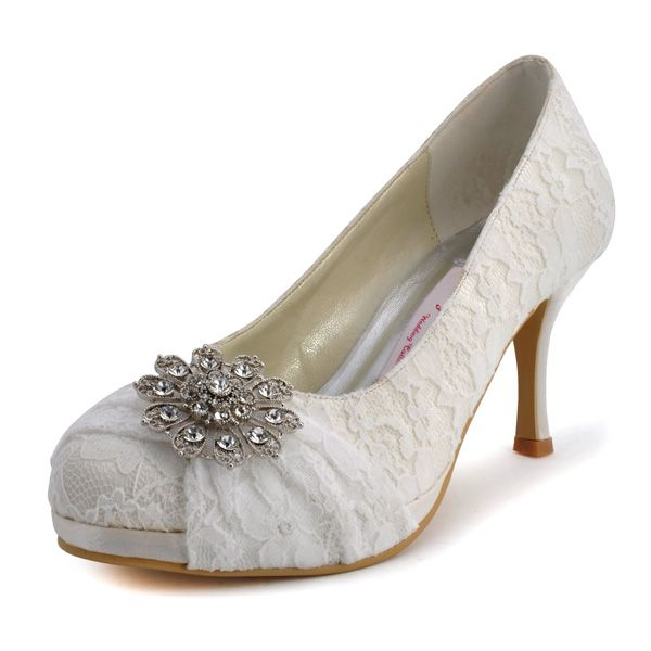 Fancy 3 Crystal BroochRound Toe Pumps - Wedding shoes (4 colors)