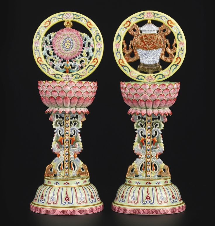 Two Famille-Rose Buddhist auspicious emblems, China, Jiaqing mark and period