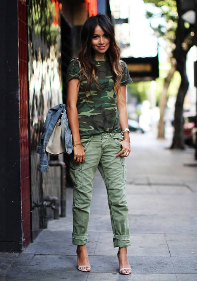 {STYLE INSPIRATION} I'm personally not a fan of camo, but I think this outfit looks cute, teamed with heels!! (you could recreate this outfit without the tshirt, if camo isn't your thing either)