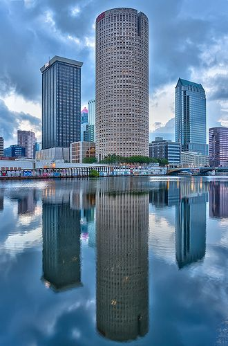 Symmetrical Reflection    Symmetrical Reflection of downtown Tampa in the Hillsborough River, Tampa, Florida  This shot is an ongoing challenge for me because the buildings are so close to the water it is tough to get the full reflection.