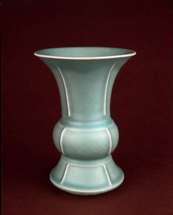 Longquan porcelain vase of archaic bronze gu or zun shape, Yuan dynasty
