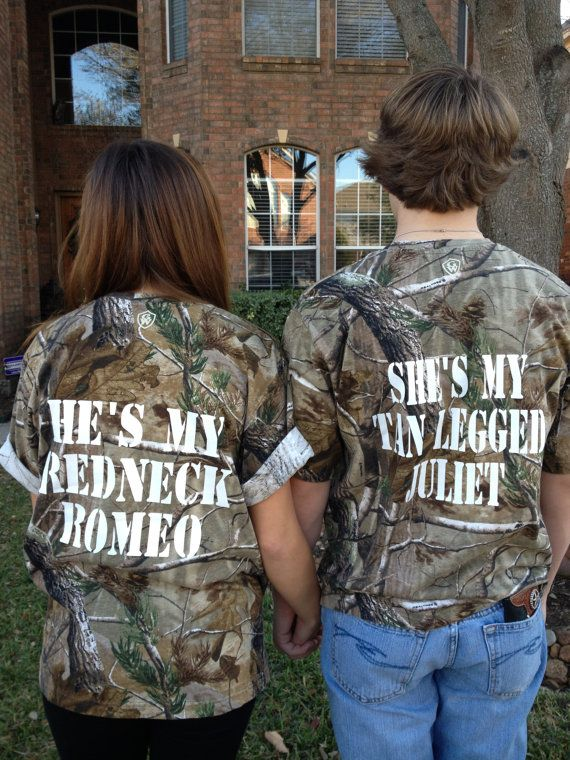 Hey, I found this really awesome Etsy listing at http://www.etsy.com/listing/123871524/couples-camo-redneck-romeo-juliet-t