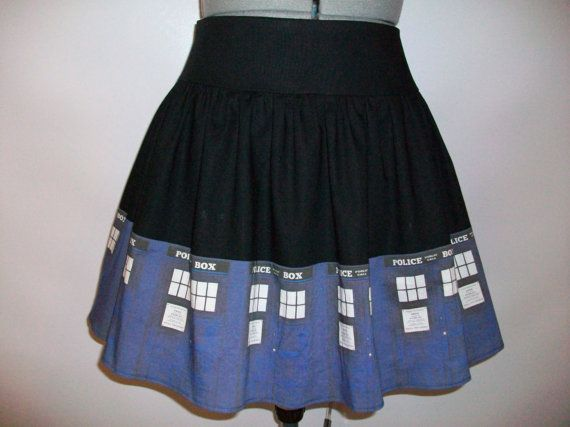 Blue Police Boxes Doors Skirt by ComplementsByJo on Etsy