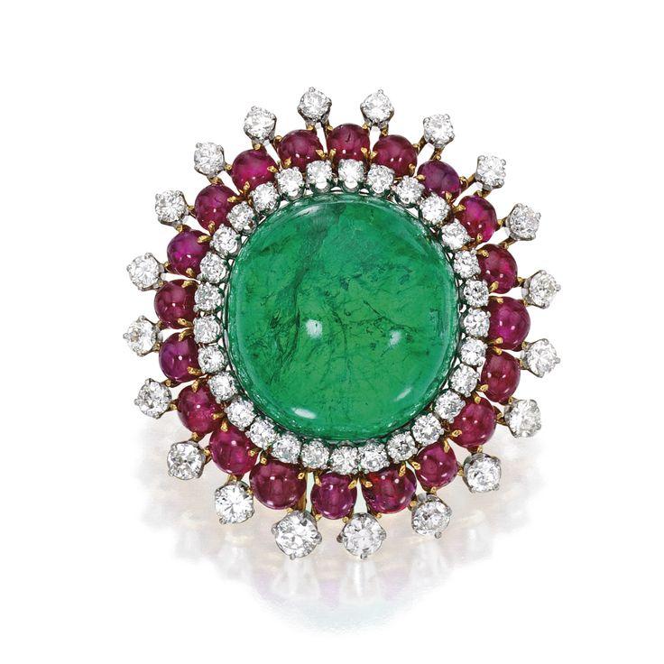 18 Karat Gold, Platinum, Emerald, Ruby and Diamond Clip-Brooch, David Webb | Lot | Sotheby's
