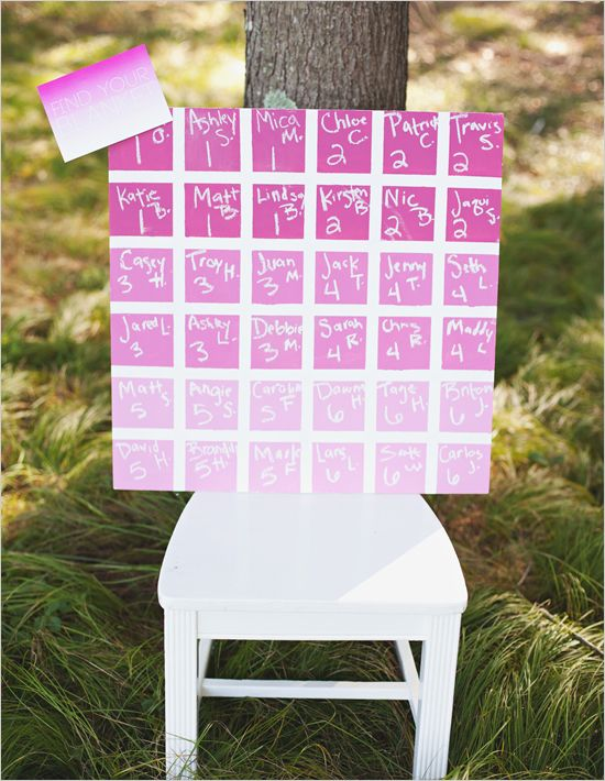 Ombre wedding seating chart #ombrewedding #weddingdecor