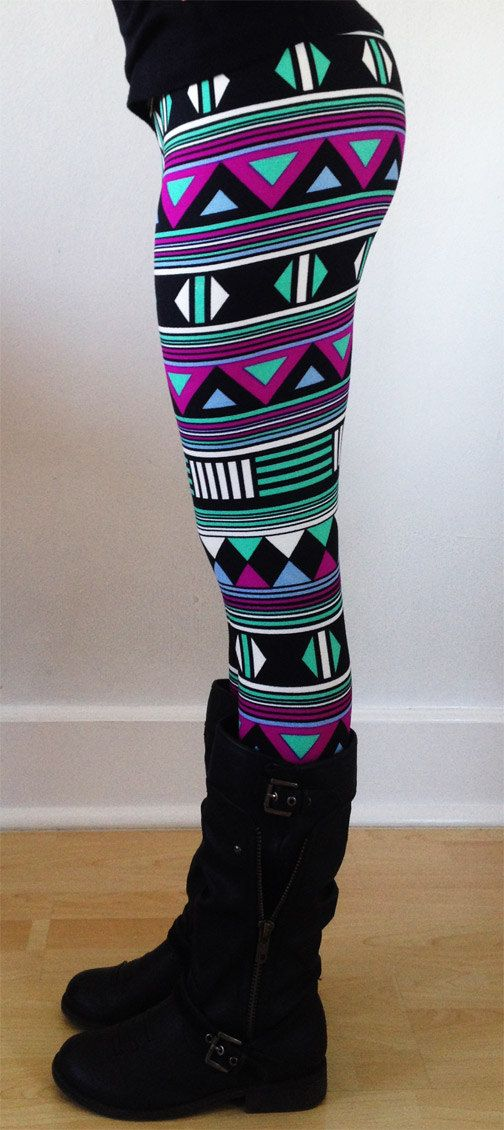 Women leggings, Flower Leggings, Colorful Leggings, Yoga Leggings, Pattern Leggings, flowers  Leggings, tribal leggings, aztec leggings