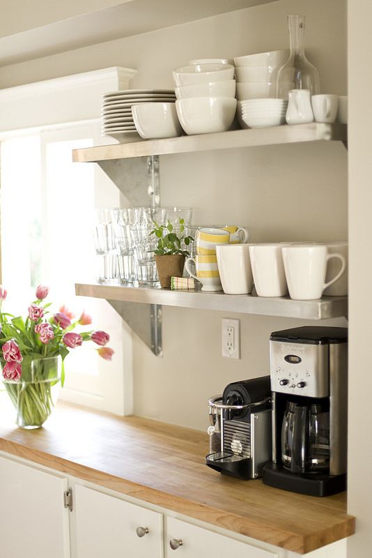 open shelves kitchen space