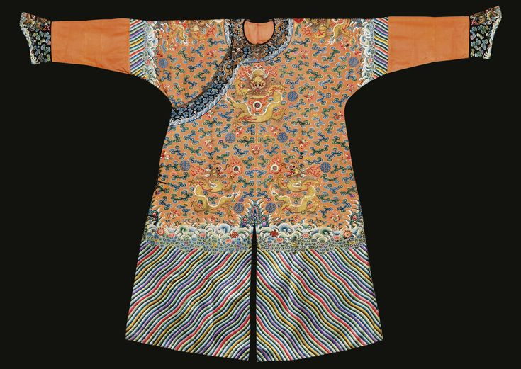 An Imperial apricot-yellow embroidered four-symbol dragon robe, Qing dynasty, Guangxu period