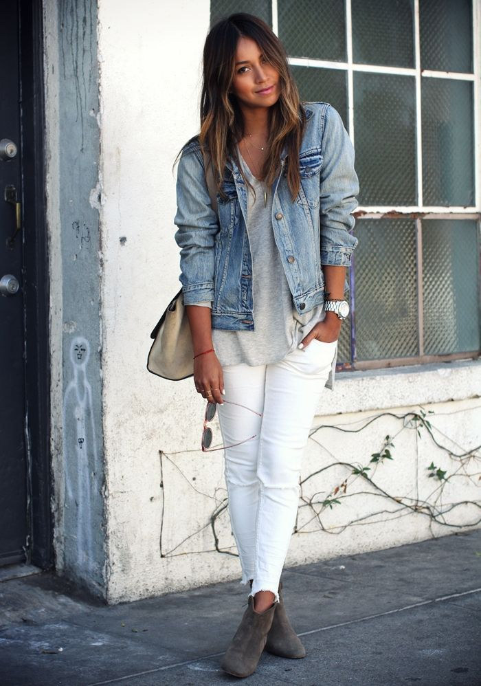 white jeans and denim jacket via Sincerely, Jules | SADIERAE + CO.