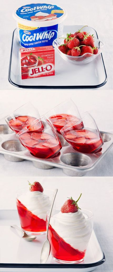 Jell-O Strawberry Parfaits Recipe - Just tilt the serving glasses in a muffin pan for a new take.
