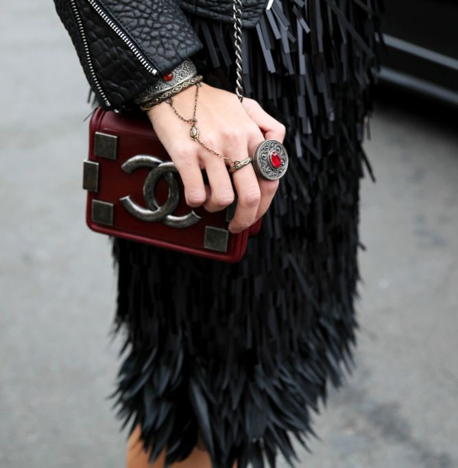 Burgundy rustic #Chanel bag + rustic jewelry Street Style at Spring Summer 2014 #Paris  #Couture