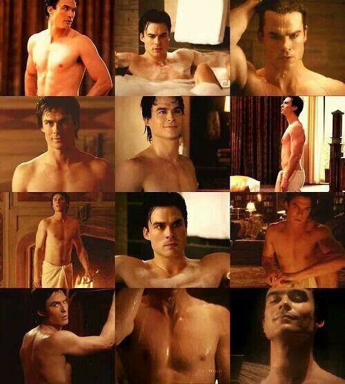 Ian Somerhalder. Seriously, though, Damon should be on the shower many more times. Yay for shirtless stills. <3