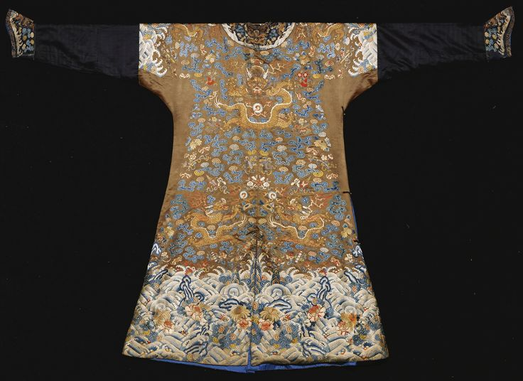 AN IMPERIAL BROWN EMBROIDERED SEMI-FORMAL DRAGON ROBE (JIFU)<br>QING DYNASTY, FIRST HALF 19TH CENTURY | Lot | Sotheby's